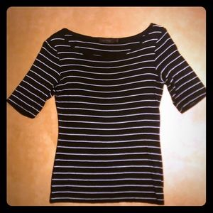 The Limited 3/4 Sleeve Black White Stripped Top